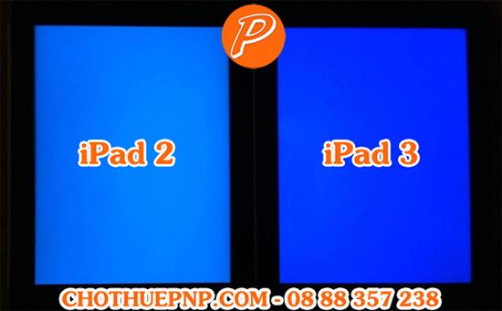iPad 2 (bên trái) cho màu sác nhợt nhạt hơn so với iPad 3 (bên phải)