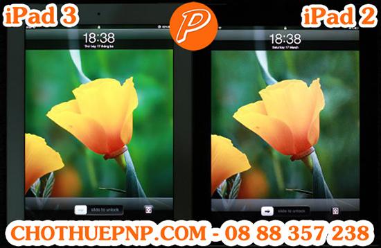 iPad 3 (bên trái) hiển thị màu sắc nét và rực rỡ hơn so với iPad 2(bên phải)