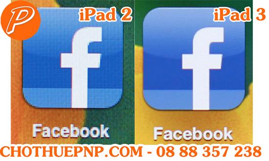 Test với một icon phần mềm của hãng thứ 3 là Facebook cũng cho thấy iPad 2 kém hẳn trước iPad 3