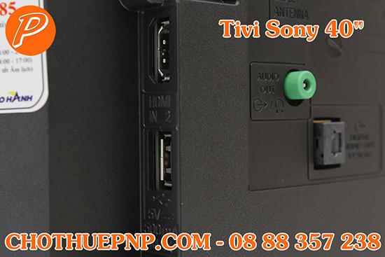 Tivi Sony40 INCHScó các cổng kết nối nhưUSB,HDMI,Jack loa 3.5 mm...